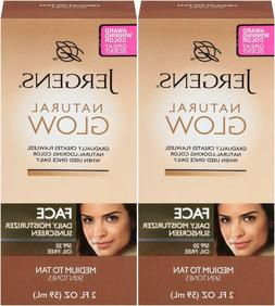 2  X JERGENS NATURAL GLOW FACE DAILY MOISTURIZER SUNSCREEN S