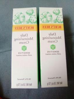 Lot of 2 Burt' Bees Daily Face Moisturizer Sensitive with Co