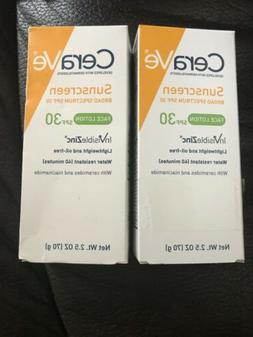 LOT OF 2- CeraVe Sunscreen FACE LOTION 2.5oz inVisibleZinc S